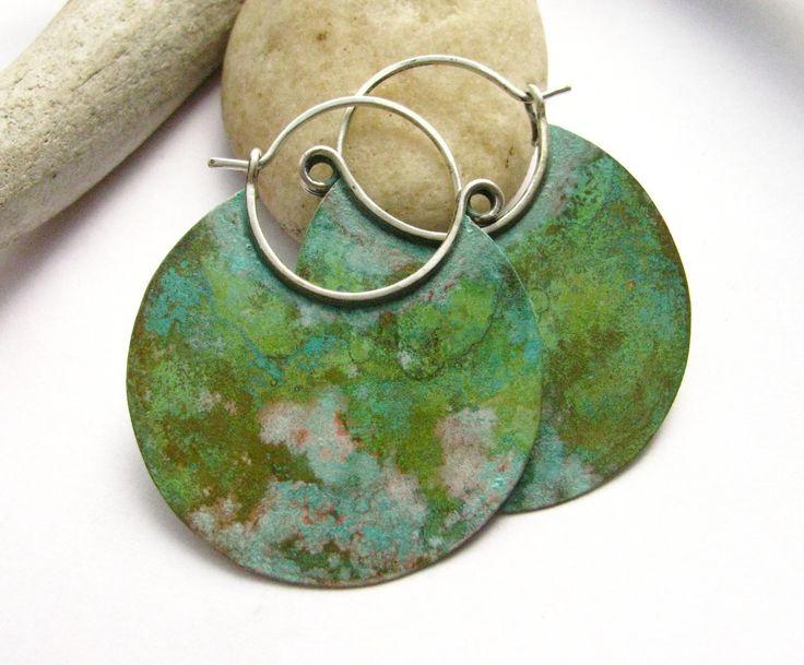Large Verdigris Hoop Earrings Bronze And Sterling Silver Metalwork Jewelry