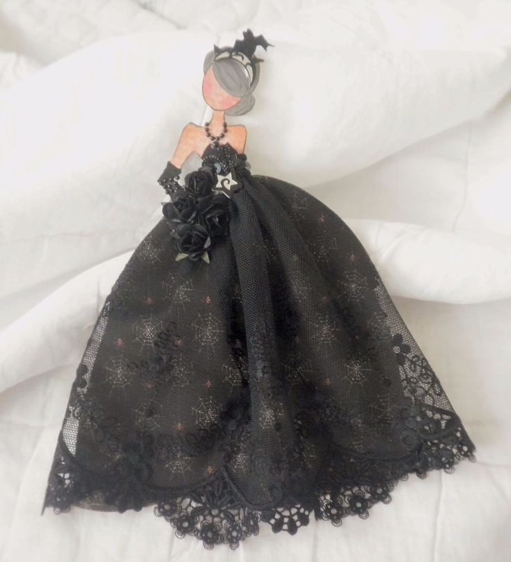 Handmade Prima Halloween Queen Lace Dress Paper Doll Paper Piecing by Becky
