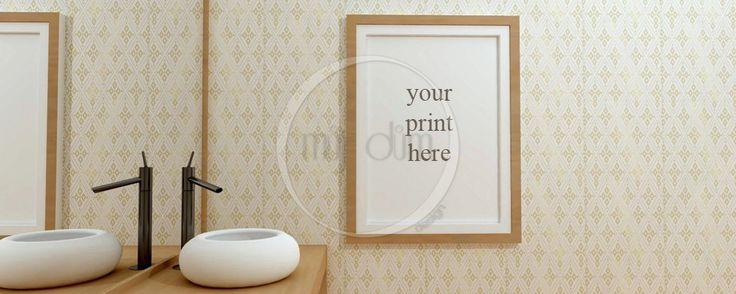 Salle de bain, Mockup, photographie de Stock, usage Commercial, scène de salle de bain, cadres photo vides, Frame maquette de la boutique mujdumwall sur Etsy