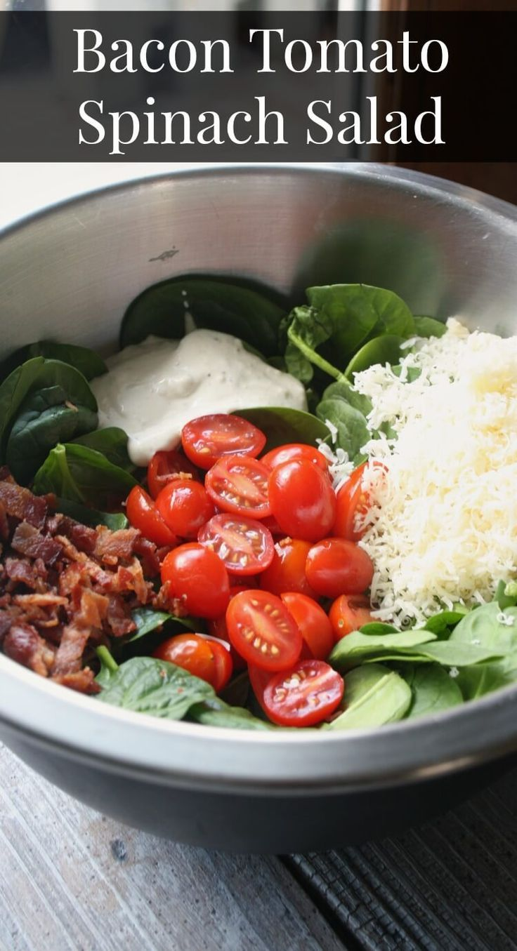 Our favorite salad recipe. Bacon Tomato Spinach Salad is a simple but flavorful side salad that can also double as an entree salad.
