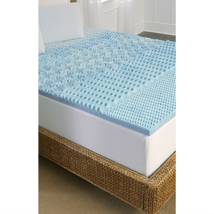 Full Size 1 5 Inch Thick Blue Memory Foam Mattress Topper With Zone Support