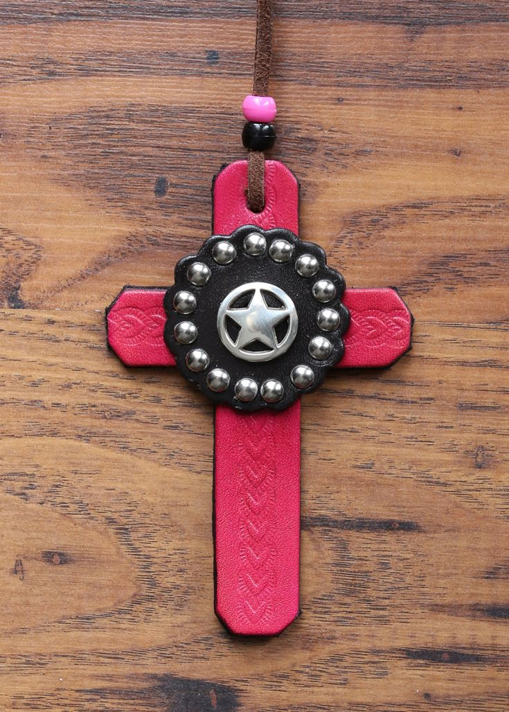 Pink Leather Cross with Silver Ranger Star by KellysLeatherDesign on Etsy
