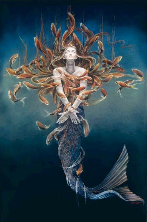 Sheila Wolk Art Poster Mermaid Metamorphosis 24x36 Fish Ocean | eBay...mosaic inspiration