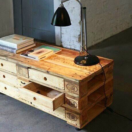 mesa tv con cajones, de paletss #palets #pallets #palletfurniture #palletwood