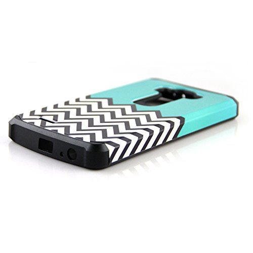 LG G4 Case, RANZ® Teal Waves Desgin with Black Hard Impact Dual Layer Shockproof Bumper Case For LG G4 with RANZ® Stylus Pen