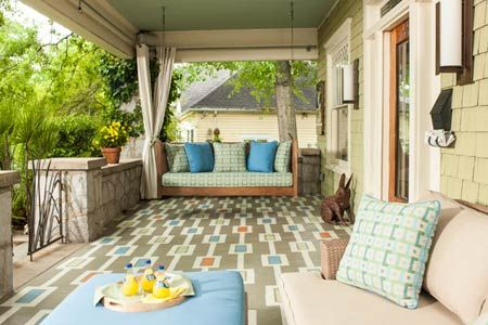 How to paint a colorful carpet on your porch floor. We've got templates and instructions here. | Photo: Deborah Whitlaw Llewellyn | thisoldhouse.com