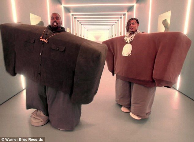 Next Level In The Video Kanye Could Be Seen Wearing A Massive Ridiculous Brown Rectangular Shirt With Grey Trousers Just Lil Pump Kanye West Kanye West Video
