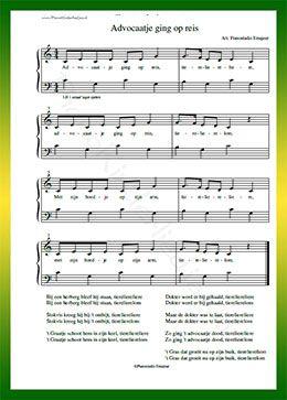 Advocaatje ging op reis - Gratis bladmuziek van kinderliedjes in eenvoudige zetting voor piano. Piano leren spelen met bekende liedjes.