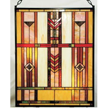 "Arts & Crafts Window Art Glass Panel  16""x 20""  copy of Frank Lloyd Wright"