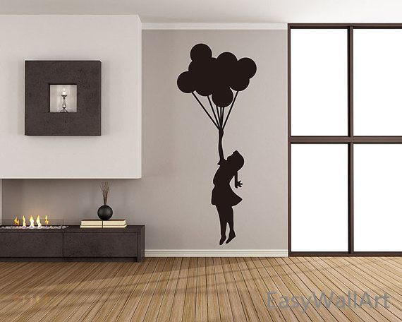 Balloons Wall Decal, Banksy wall decal, Balloon Decal, Girl wall stickers for Living-room, Bedroom Decal, Office   #S18