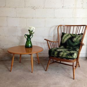 Vintage Ercol Armchair In Palm Fabric - living room