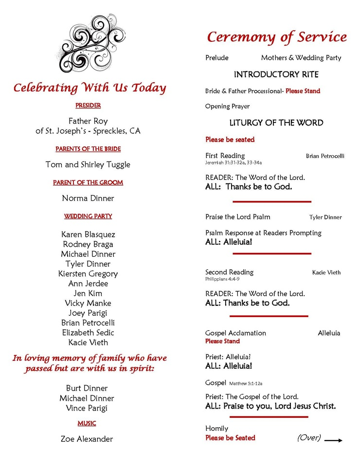 catholic wedding ceremony program sample page 2 inside of With sample wedding ceremony program