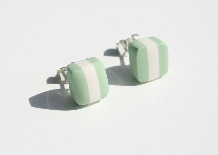 Striped studs, porcelan apple green from Marie Olofsson Productdesign by DaWanda.com