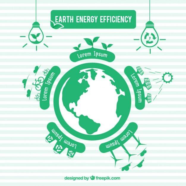 地球のエネルギー効率のグリーンinfography Premiumベクター