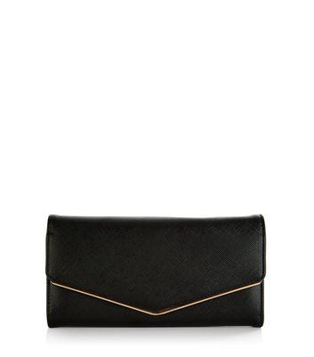 Black Leather-Look Foldover Purse
