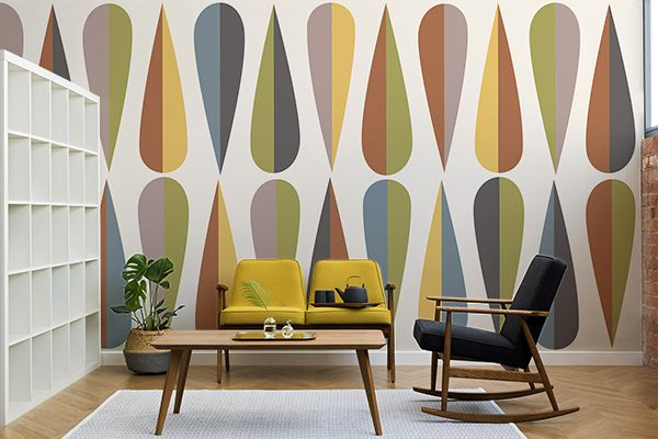 Wegner Colourful Retro Wallpaper Mural Murals Wallpaper Retro Home Decor Decor Interior Design Mid Century Modern Wallpaper
