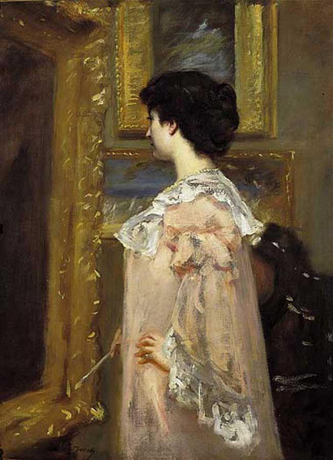 Carolus Durand (French, : Artiste dan son Atelier (portrait of the Carolus  Durand's wife in his studio), La Salle University Art Museum, Philadelphia.