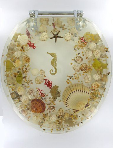 Elongated Sea Shell Lucite Tropical Fish Toilet Seat Seashell. For one of our beach house bathrooms :)
