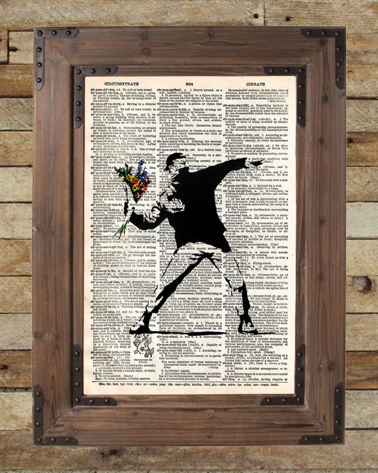 Banksy Flower Bomber art print Print of acclaimed street artist Banksy, thought provoking and powerful. These unique and original artwork are printed on authentic vintage early 1900's dictionary paper