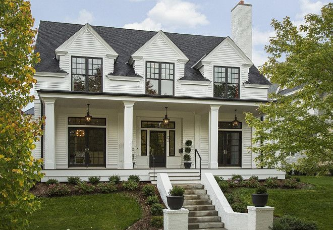 Black window frames look great on a modern farmhouse.