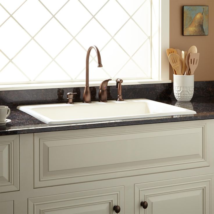 "33"" Palazzo Cast Iron Drop-In Kitchen Sink $496.95 (Biscuit, 8"" faucet spread, chrome garbage disposal flange)"
