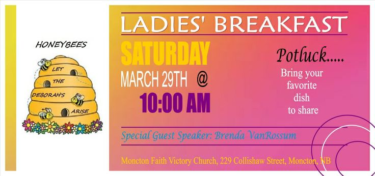 Ladies' breakfast Saturday, March 29th at 10am with special guest speaker Brenda VanRossum
