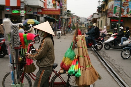 Crossing railroads, Haiphong, Vietnam