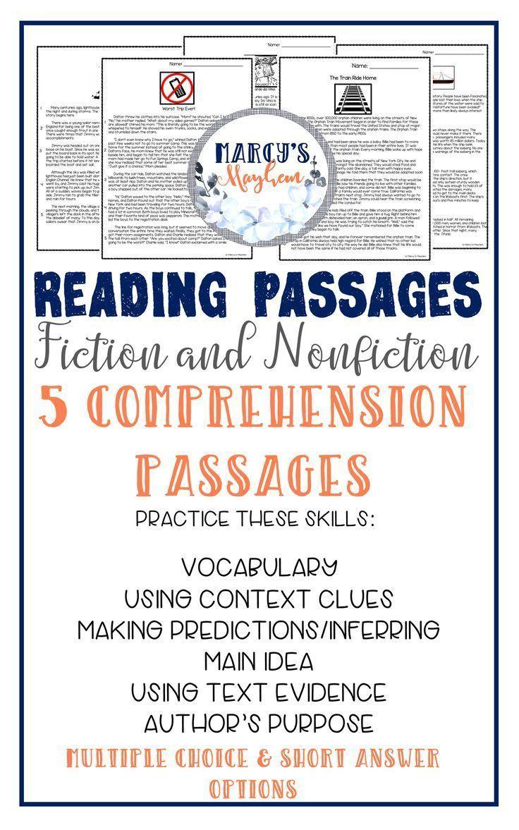 84 best Short Reading Comprehension Passages images on Pinterest ...