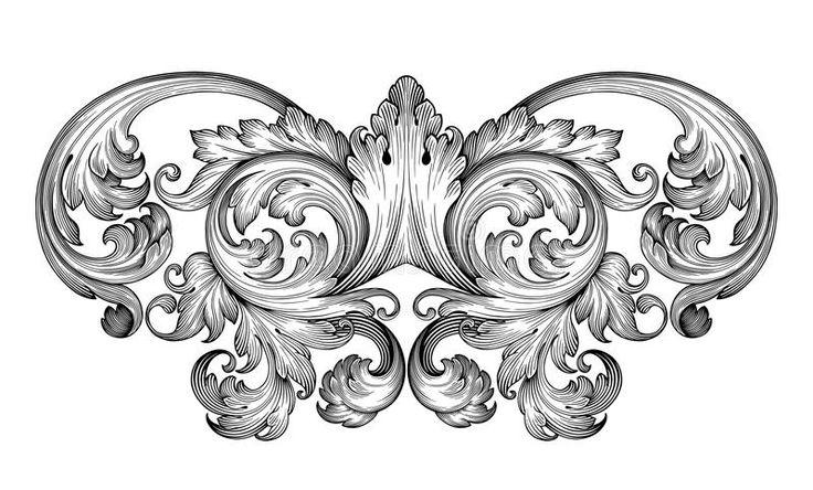 Векторный Барокко Орнамент Переченя Рамки Винтажные Иллюстрации Вектор