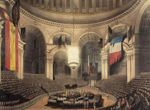 Arrival of Admiral Lord Nelson's funeral carriage for internment at St. Paul's Cathedral, London. Ensigns captured from the Spanish and French fleet during the Battle of Trafalgar hang from the galleries, 1806