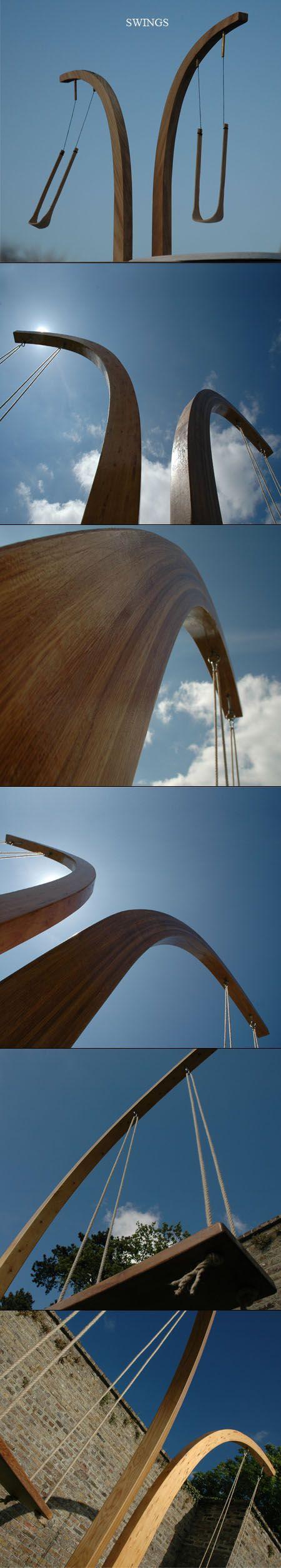 outdoor sculpture swing timber