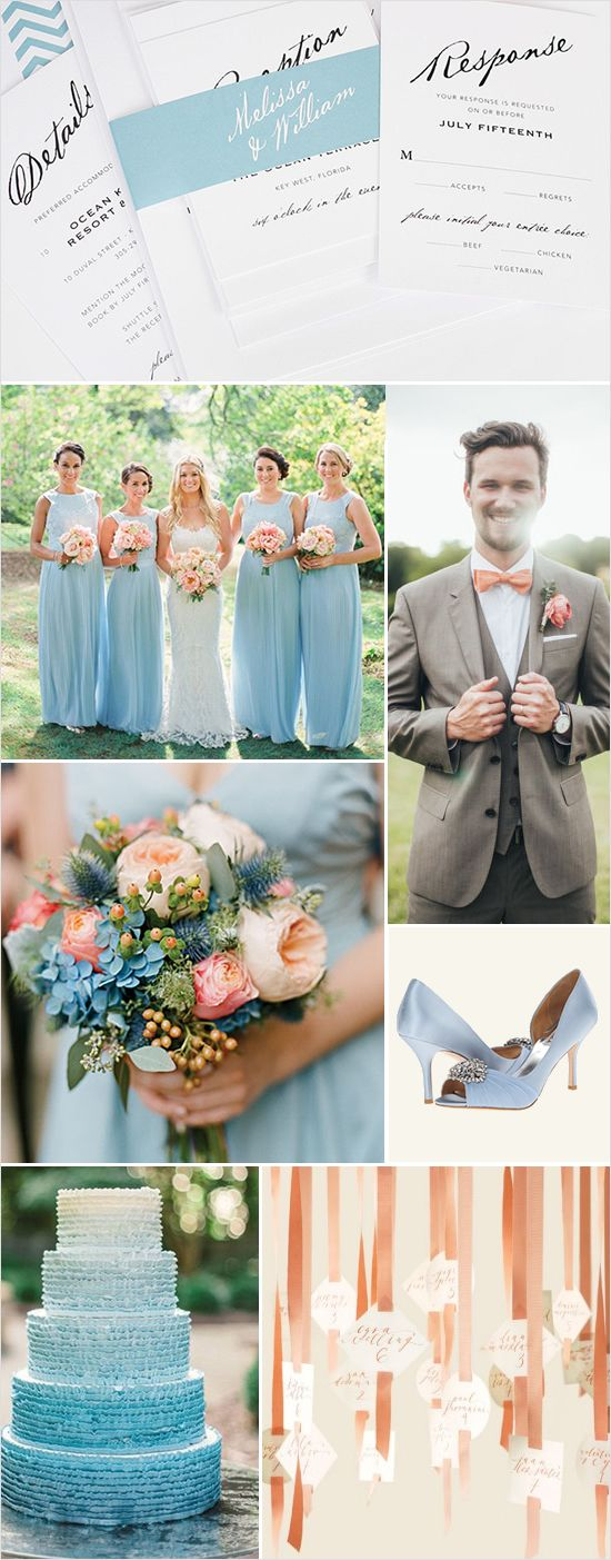 Blue and peach wedding ideas with matching invitations! http://www.weddingchicks.com/2015/01/16/elegant-wedding-invitations