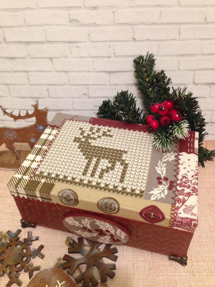 Купить Шкатулка коробочка из дерева Новый год олень бордо декупаж в интернет магазине на Ярмарке Мастеров