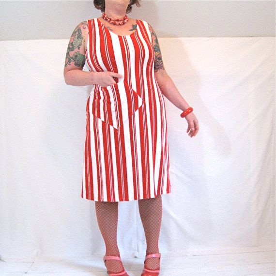 Easy Dress  red and white striped vintage 1970s by hissyfitoly, $85.00