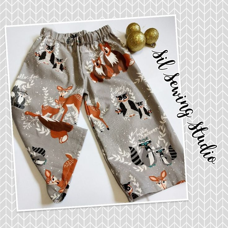 Christmas Pajama pants woodland cotton pants wood animals Christmas pajama pants winter design Sizes 3 m 6m,12m,18m,2T,3T,4T,5,6,7,8,10,12 by SilSewingStudio on Etsy