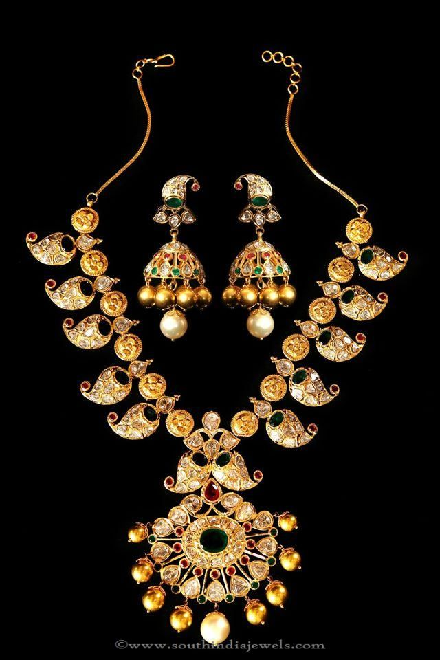 Gold Mango Necklace with Jhumka, Gold Antique Mango Necklace Designs.