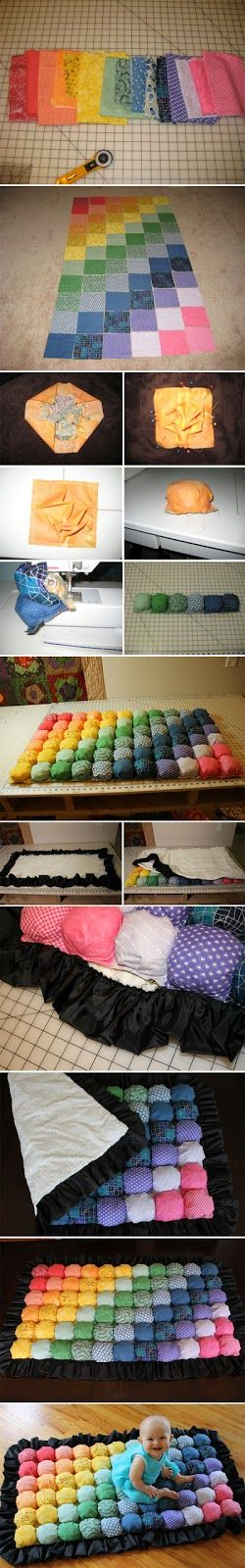 DIY IDEAS: Bubble Quilt multicolor  (Click on the DIY Bubble Quilt Tutorial just beneath the video for instructions....