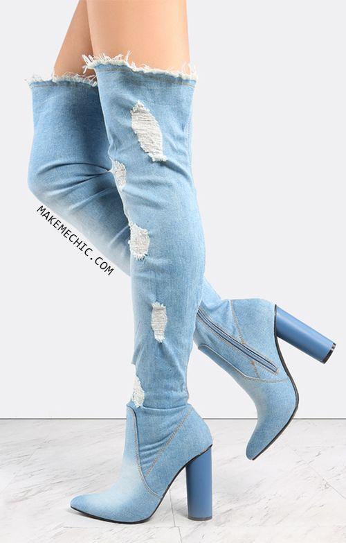 Pointed Toe Distressed Denim Boots DENIM