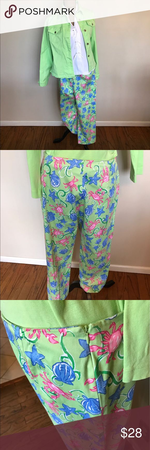 "Bamboo Traders lime pant w/blue/pink shell print Worn twice🎉Side slit @ bottom🎉24"" inseam🎉Side zip🎉🎉 Please ask for additional pictures, measurements, or ask questions before purchase. 🎉 No trades or other apps 🎉 Ships next business day, unless noted in my closet  🎉 Bundle for discount Bamboo Traders Pants Ankle & Cropped"