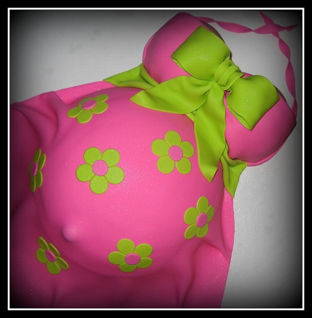 Hot Pink & Lime Green Belly Cake
