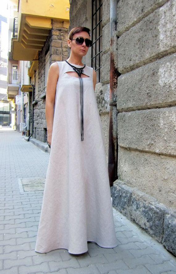 Vestido de lino vestido de Kaftan vestido Maxi por CARAMELfs