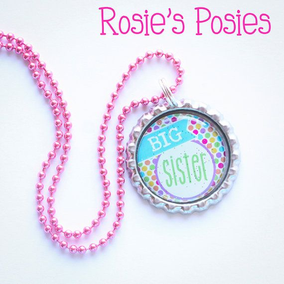Big Sister Bottle Cap Necklace, New Sibling Gift $5
