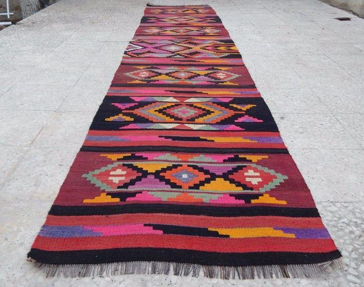 12 foot Vintage Handmade Unique Multi Color Tribal Turkish Kilim Rug Hall Runner #Turkish