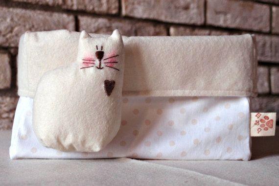 Contenitore porta oggetti in feltro e cotone, contenitore con Gatto, porta oggetti per cameretta, porta pannolini, porta oggetti decorato