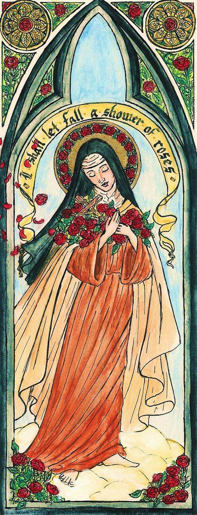 Saint Therese (2009)  by Theophilia on DeviantArt. Ink, pencil, and gold ink.