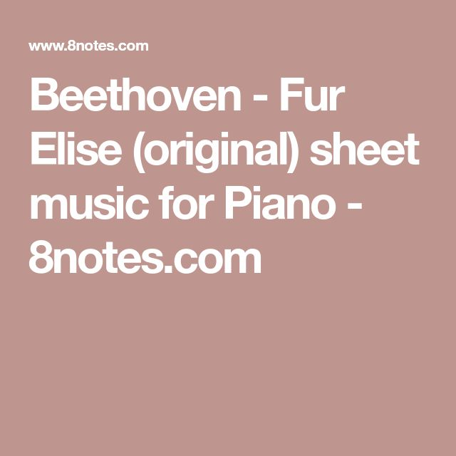 Best 25+ Fur Elise Sheet Music Ideas On Pinterest