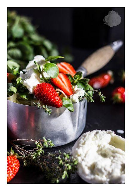 Watercress, mozarella di bufala & strawberries pasta