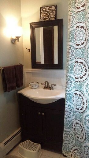 Bathroom with Target curtain and with Behr Rhino paint
