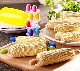 It's even more fun to eat corn-on-the-cobb with these colorful, heat resistant, corn holders that store inside their own ear of corn!