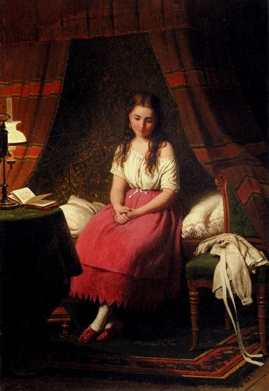 Contemplation by Johann Georg Meyer von Bremen (1813 – 1886, German painter)